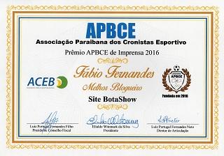 Prêmio APBCE - 2016 - Fábio Fernandes - Melhor Blogueiro - Blog Botashow
