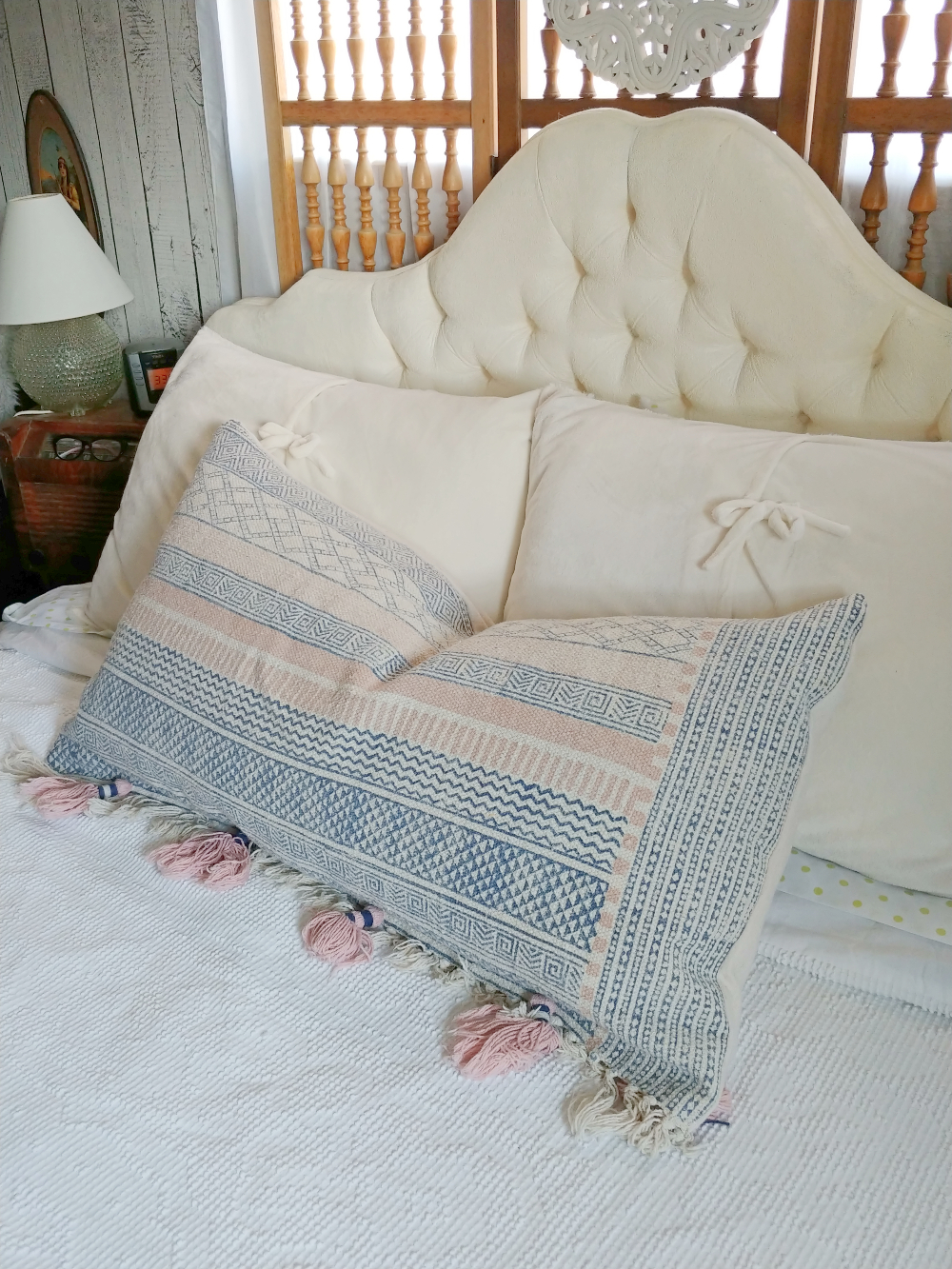 pillow made from a repurposed rug
