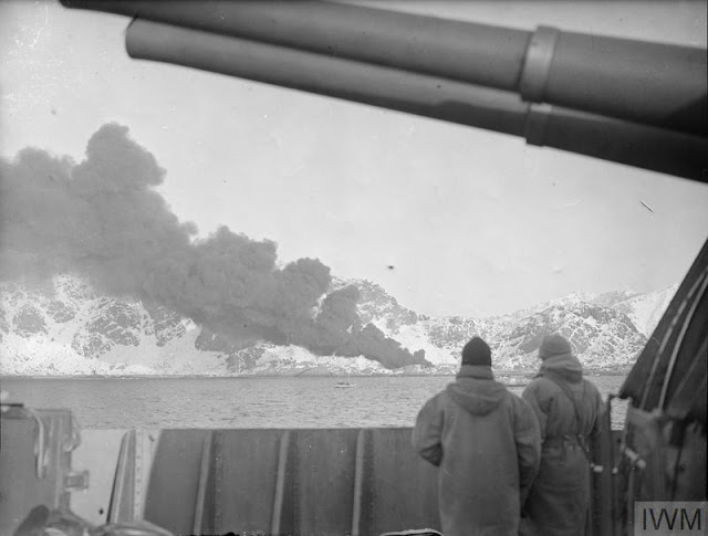 4 March 1941 worldwartwo.filminspector.com Lofoten Islands Operation Claymore burning fish oil factory