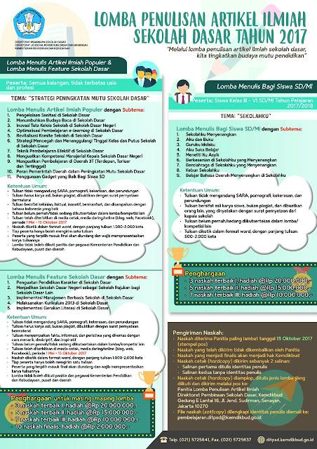 Lomba Penulisan Artikel Ilmiah Sekolah Dasar Tahun 2017.(1) Lomba Menulis Artikel Ilmiah Populer; (2) Lomba Menulis Feature Sekolah Dasar; dan (3) Lomba Menulis Bagi Siswa SD/MI (Sekolah Dasar dan Madrasah Ibtidaiyah).