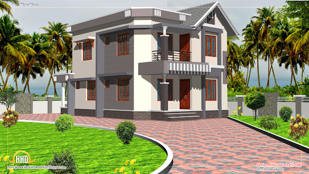 duplex house elevation - 1592 sq