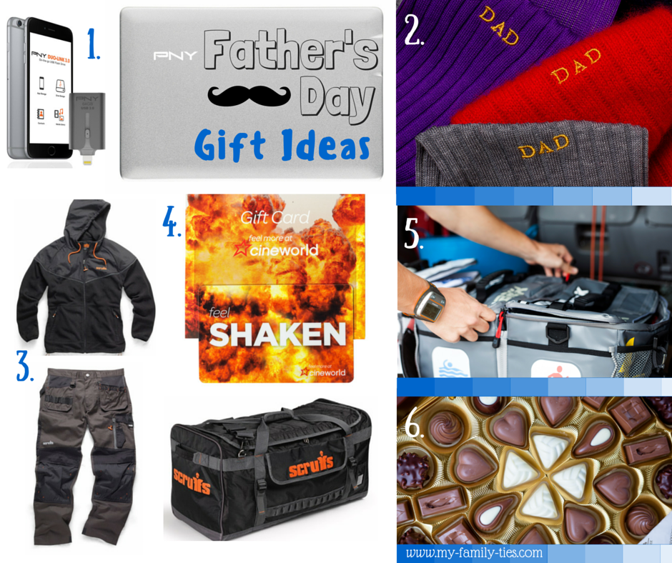 Father's Day Gift Ideas and Inspiration From My Family Ties Blog www.my-family-ties.com Including Scruffs Workwear, Cineworld, PNY, Pantherella, KitBrix, Lindt Chocolates.