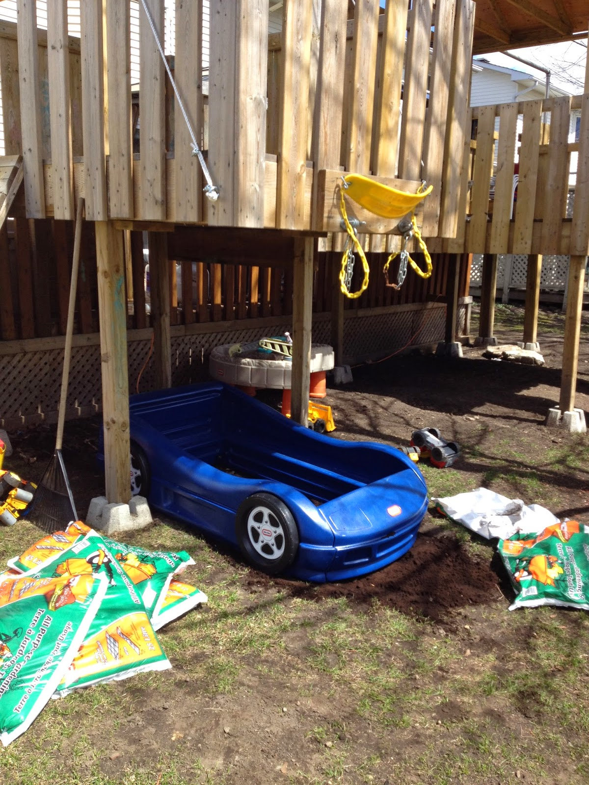 little tikes, car bed, outside, dirt box, sand box, re-use