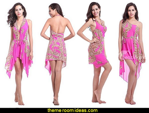 Pink Leopard Pattern Sexy Monokini Changeable Beach Dress Swimwear