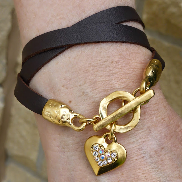 What Lizzy Loves wears Danon leather wrap bracelet with gold heart with crystals