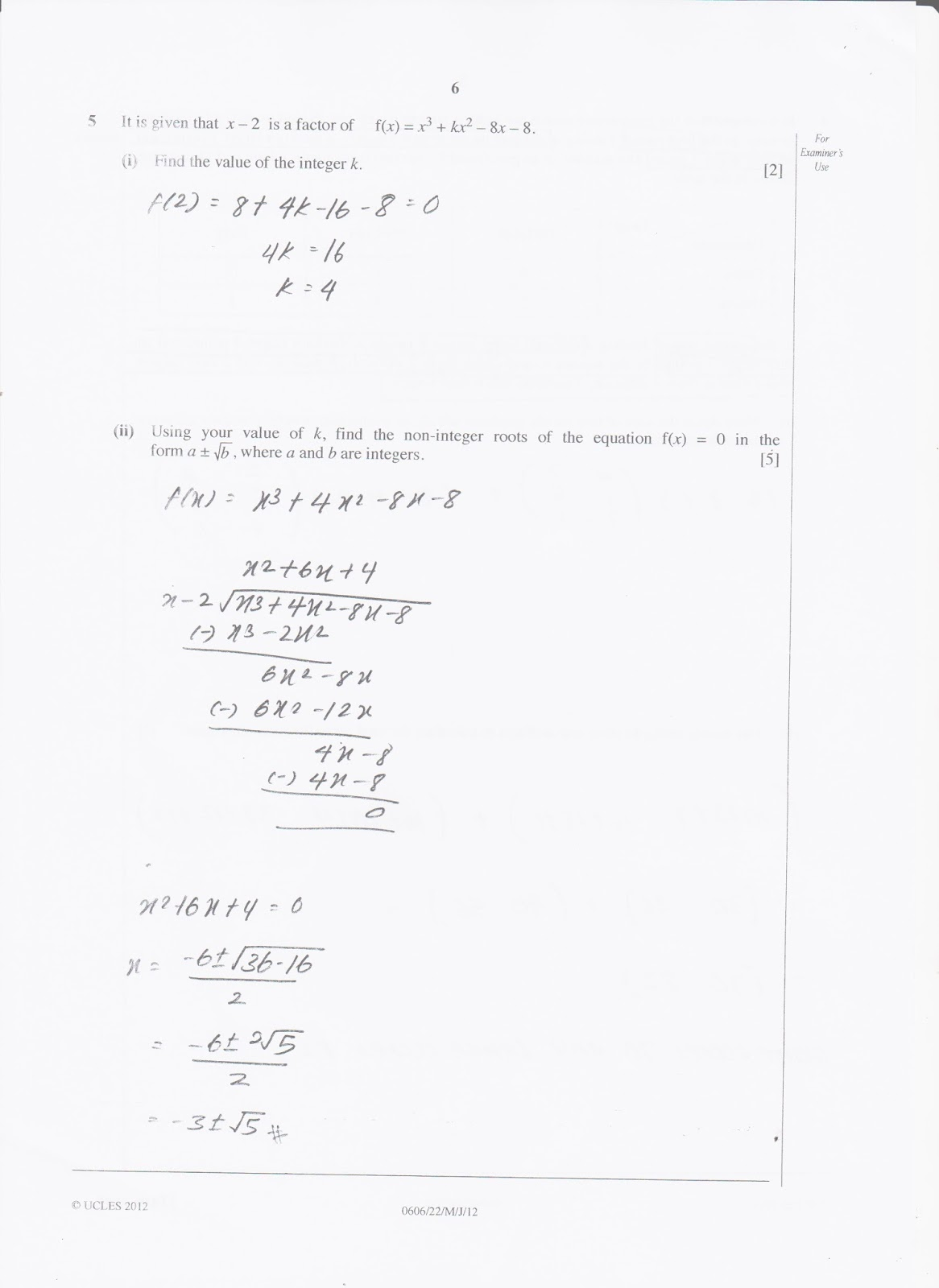 IGCSE Add Maths Working Answers [0606/22] Paper 2 2012