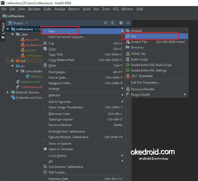 Nama Project > New > File membuat create file baru new txt di intellij idea program java
