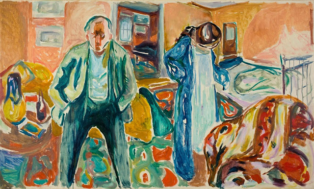 "Edvard Munch, ""The Artist and His Model"", 1919-21 | imagenes obras de arte tristes, bellas, pinturas, cuadros, art pictures inspiration, cool stuff."