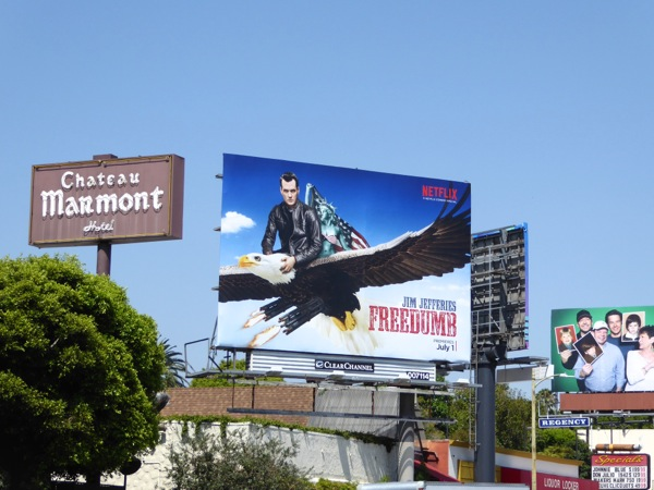 Jim Jefferies Freedumb billboard Sunset Strip