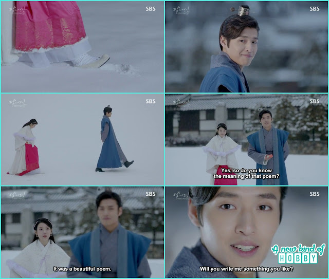 hae sooslipped while walking on foot step of 8th Prince on snow  - Moon Lovers: Scarlet Heart Ryeo - Episode 5 Review
