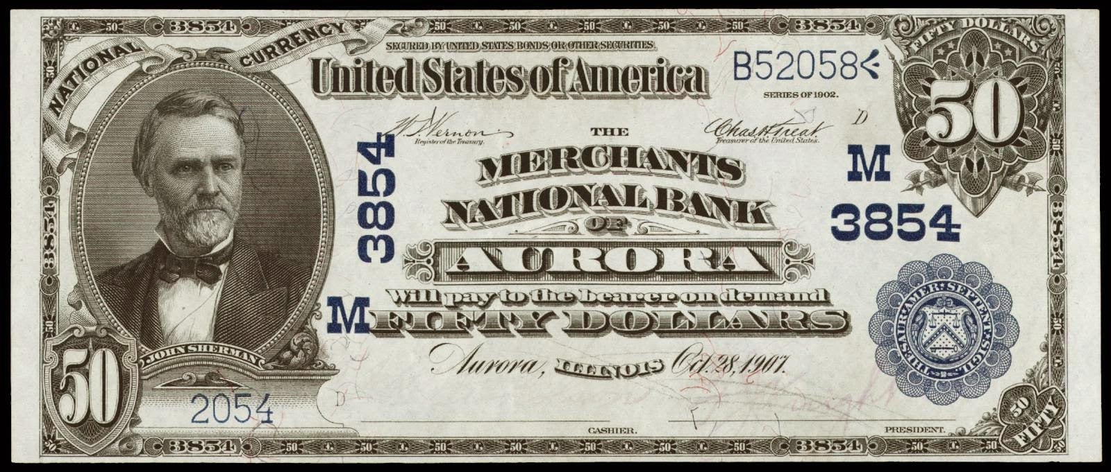 1902 50 Dollar Blue Seal National Bank Note