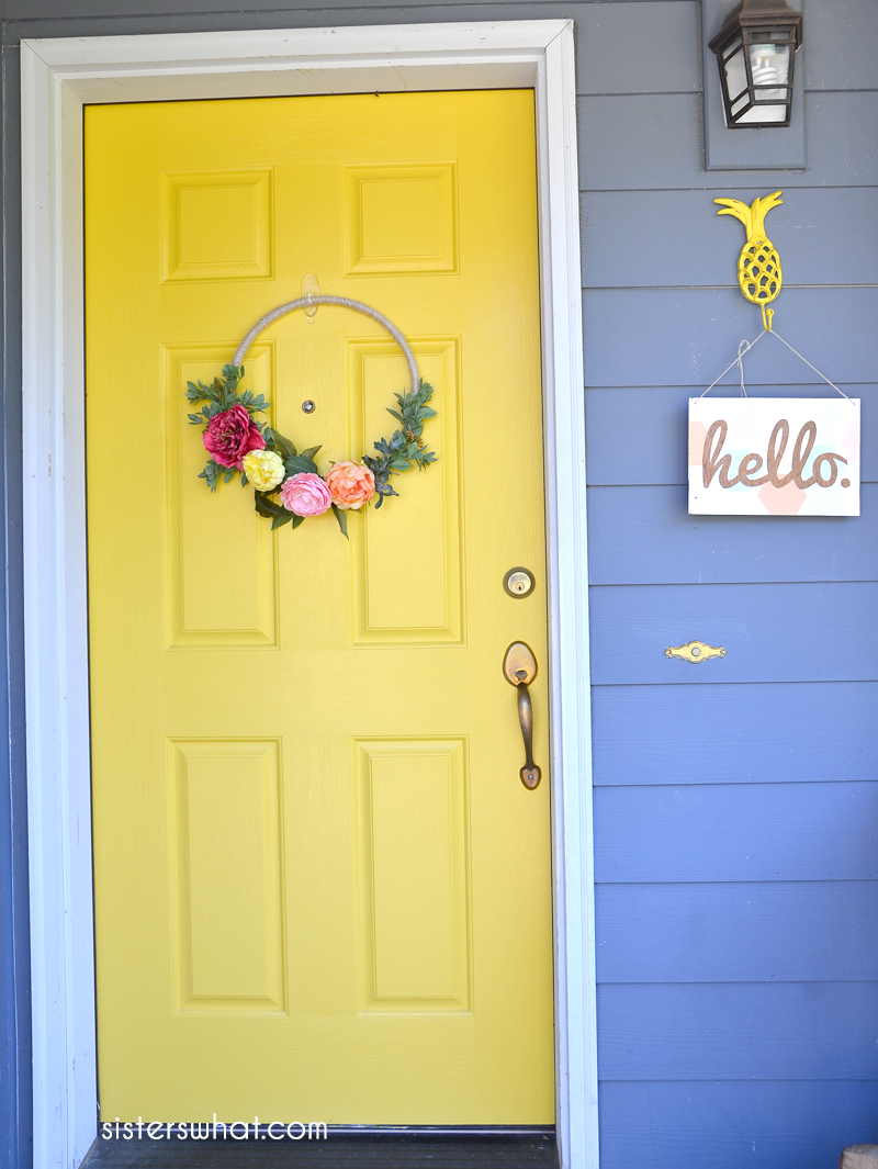 DIY Colorful floral wreath for yellow front door