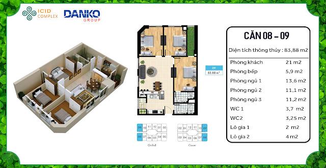 Căn 08 - 09 chung cư ICID Complex