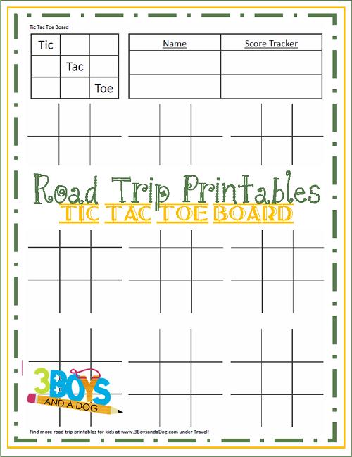 Road Trip Printables for Kids: Tic Tac Toe