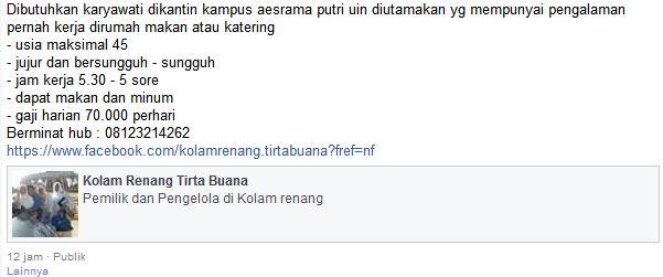 Lowongan Kerja Kantin Asrama UIN Malang Januari 2017