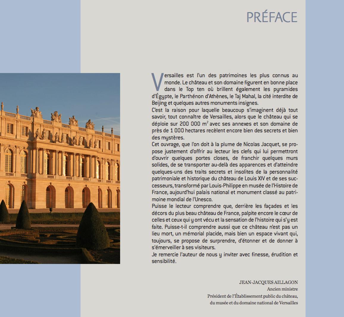 Préface de Jean-Jacques Aillagon pour Versailles Secret et Insolite - Président de l'Etablissement public du château, du musée et du domaine national de Versailles