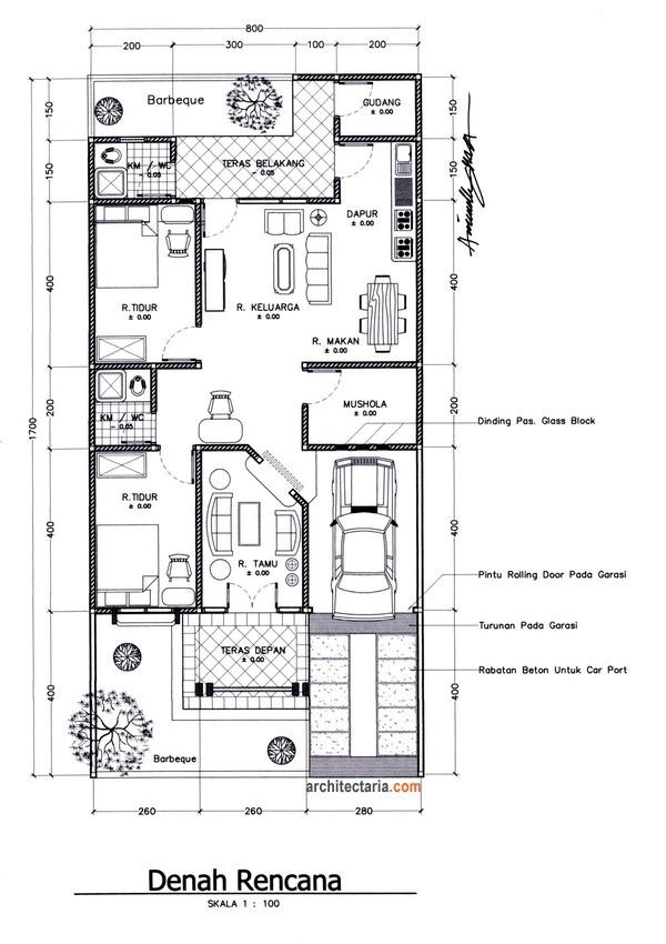 denah rumah ukuran tanah 6x9 1 lantai 1