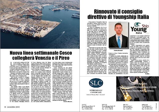 NOVEMBRE 2018 PAG. 18 - Nuova linea settimanale Cosco collegherà Venezia e il Pireo