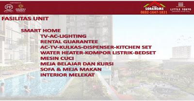 Apartemen dilengkapi aneka sarana semacam Giant Giga Wi- fi, Japanese Lifestyle Mall, Sky Garden Dinning, Future Smart Living, Skybridge, Shuttle Bis Feeder