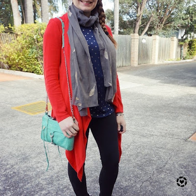 awayfromtheblue instagram red cardigan feather scarf foil polka dot tee black skinny jeans