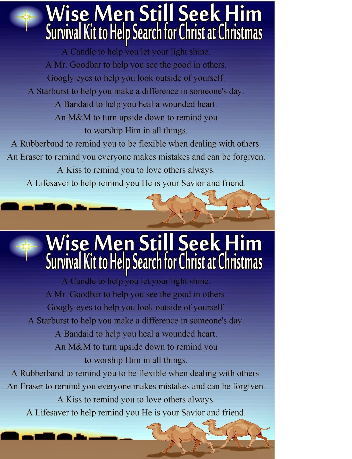 Search for Christ this Christmas with this printable Survival kit for the modern day Wise men.  Each item within the kit reminds you of ways to bring more of Christ in to the Christmas holiday.