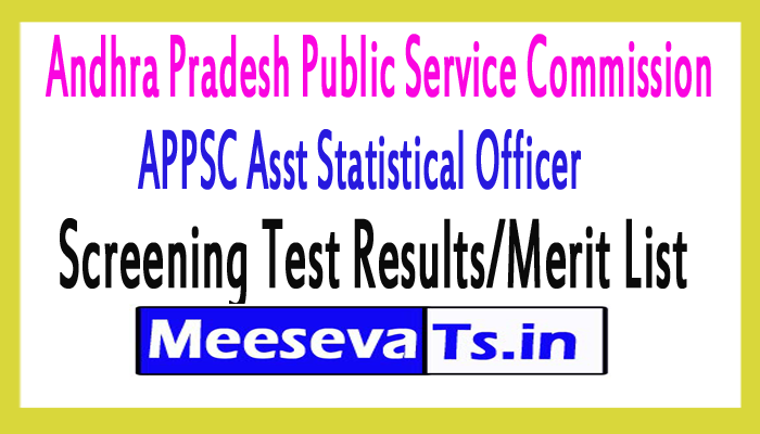 APPSC Asst Statistical Officer (ASO) Screening Test Results/Merit List 2017
