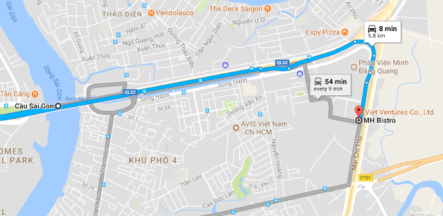 Option 1: After crossing Saigon Bridge, just keep go ahead until you see the Pagoda: Phap Vien Minh Dang Quang on the right hand side, then just turn right along the Pagoda, then you can see Lexington Residence, MH Bistro is on the left and front of the building on Mai Chi Tho Street