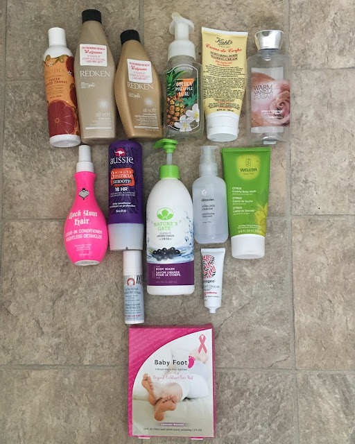 beauty empties, recent beauty empties, skincare, hair products, bath & body, Pacifica, Redken, Bath & Body Works, Kiehl's, Rock Your Hair, First Aid Beauty, Nature's Gate, Glossier, Briogeo, Weleda, Baby Foot