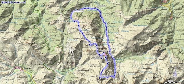 Mapa de ruta circular a los Huertos del Diablo por el Valle de la Foix