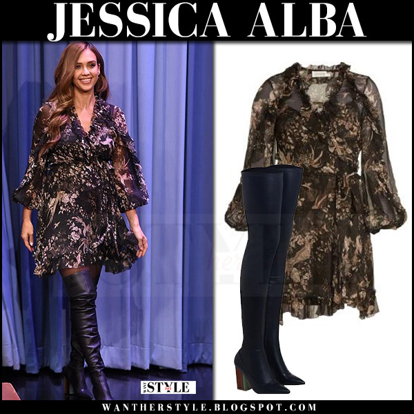 Jessica Alba in black floral print mini dress and boots zimmermann tv appearance august 4 2017