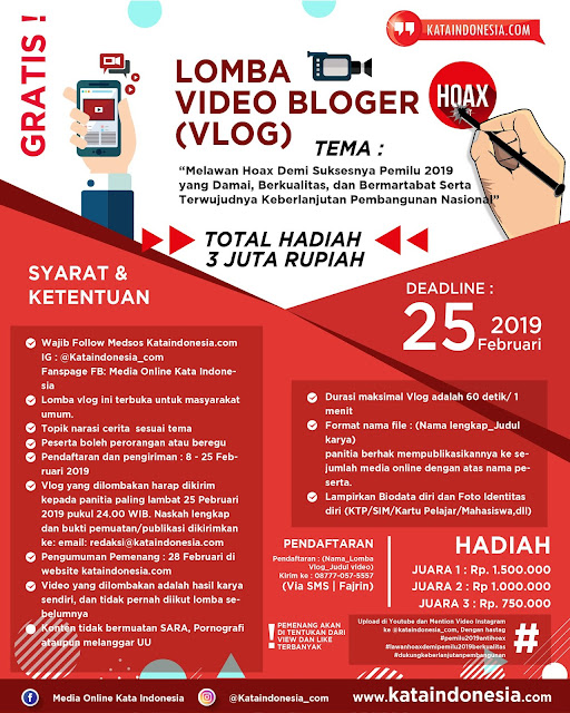 Lomba Video Bloger (Vlog) 2019 Umum Gratis