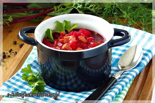 barszcz czerwony z botwinką i młodymi warzywami przepis krok po kroku