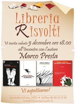 Marco Presta vi aspetta il 5 Dicembre alla Libreria Risvolti