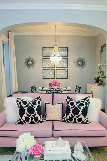 white fluffy sofa cushions milan leather malaysia room lust: hollywood regency in blush pink - swoon worthy