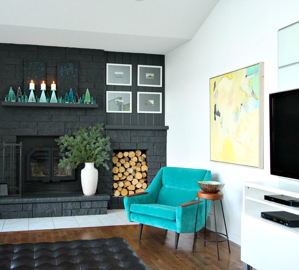 Dark Grey Painted Fireplace