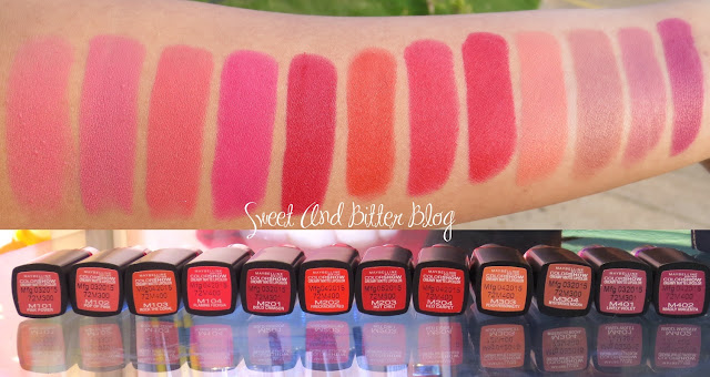 12 Maybelline Color Show CREAMY MATTE Lipcolor Swatches : Sweet and Bitter Blog