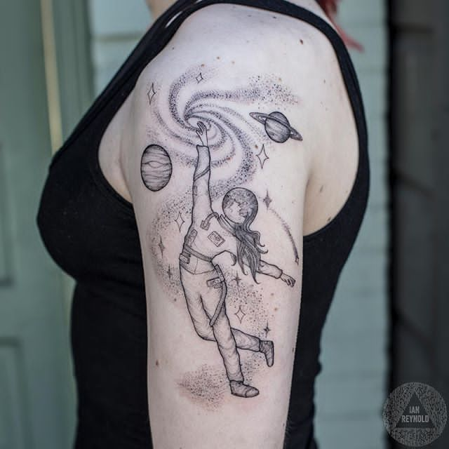 women sleeve astronaut tattoo