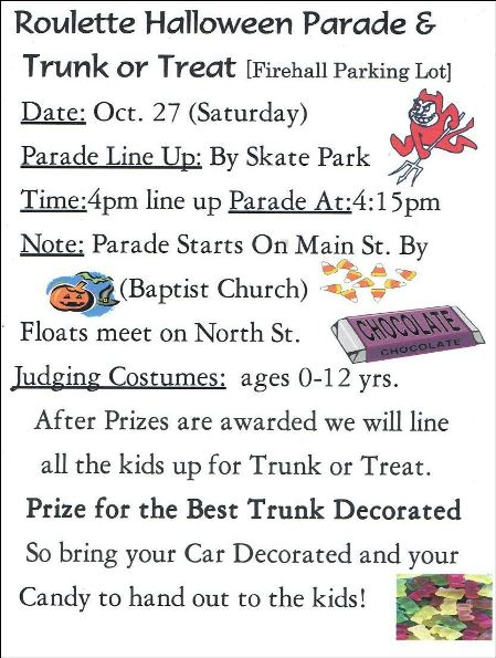 10-27 Roulette Halloween Parade and Trunk or Treat