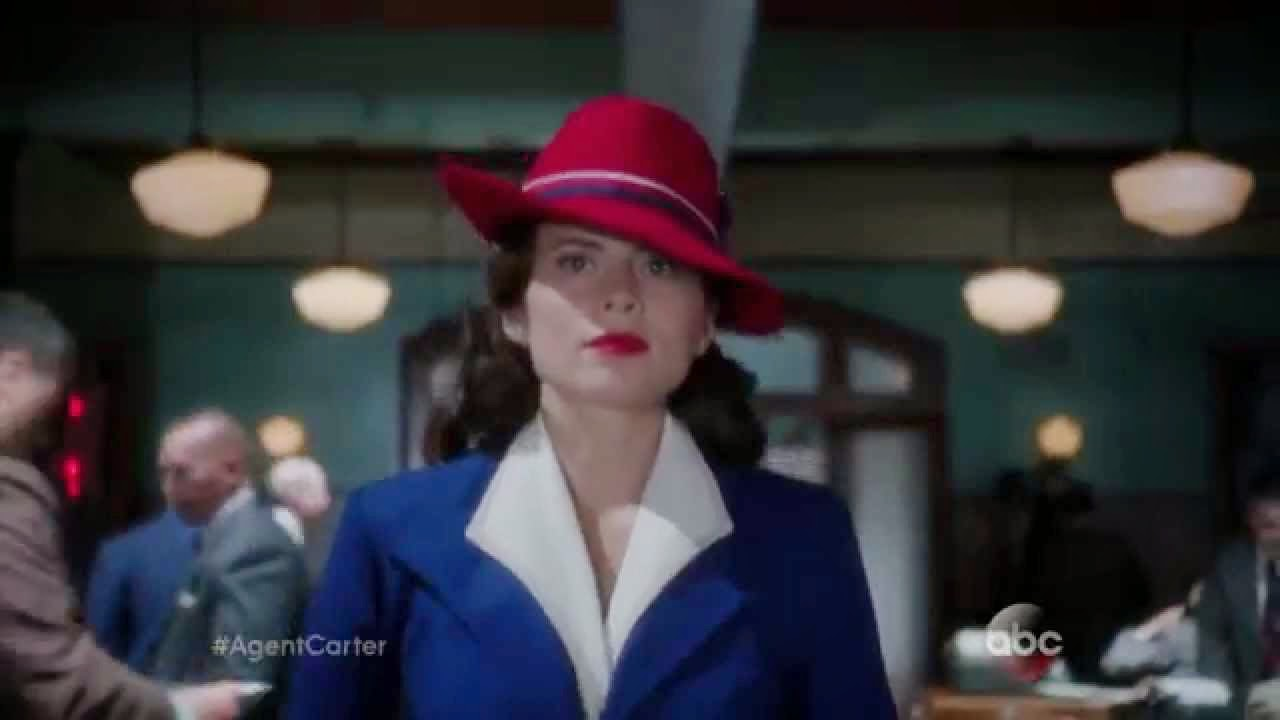 e335bbe8 ... episode of Agent Carter and in some promotion images. It is royal blue,  and she wears it with a white shirt, a red Stetson Aviatrix hat, and blue  shoes.