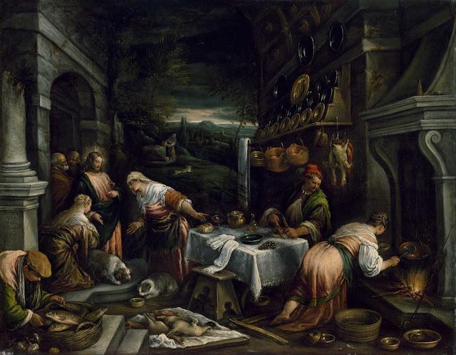 Jacopo Bassano y Francesco Bassano, Gesù Cristo nella casa di Marta e Maria di Betania (1577)
