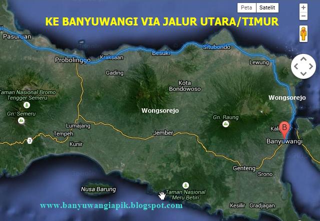 Rute perjalanan ke Banyuwangi lewat jalur pantura via Situbondo.