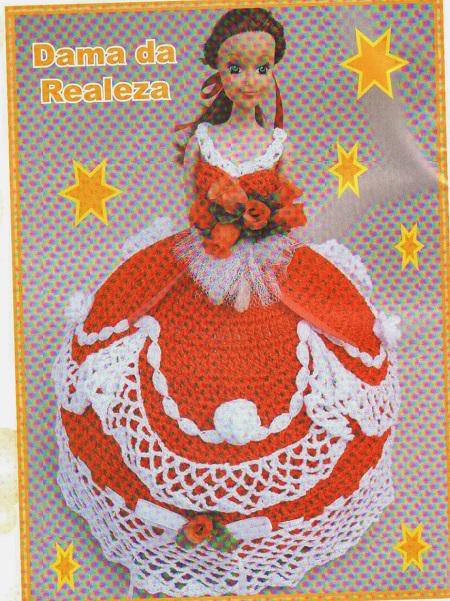 Bonecas Barbie vestido em Crochê com Gráfico e Passo a Passo