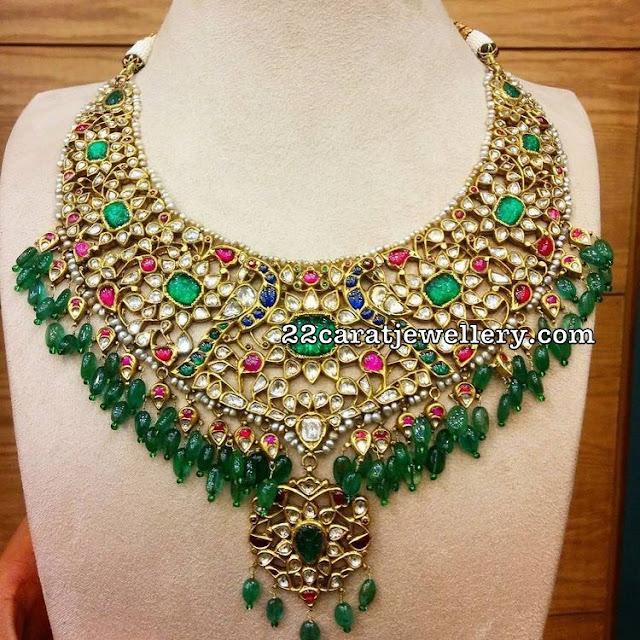 Kundan Emerald Peacock Choker with Drops