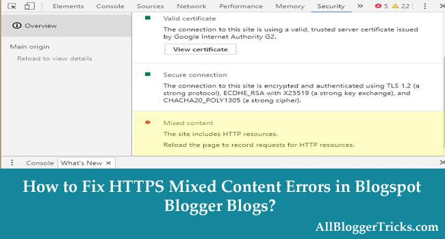 How to Fix HTTPS Mixed Content Errors in Blogspot Blogger Blogs?