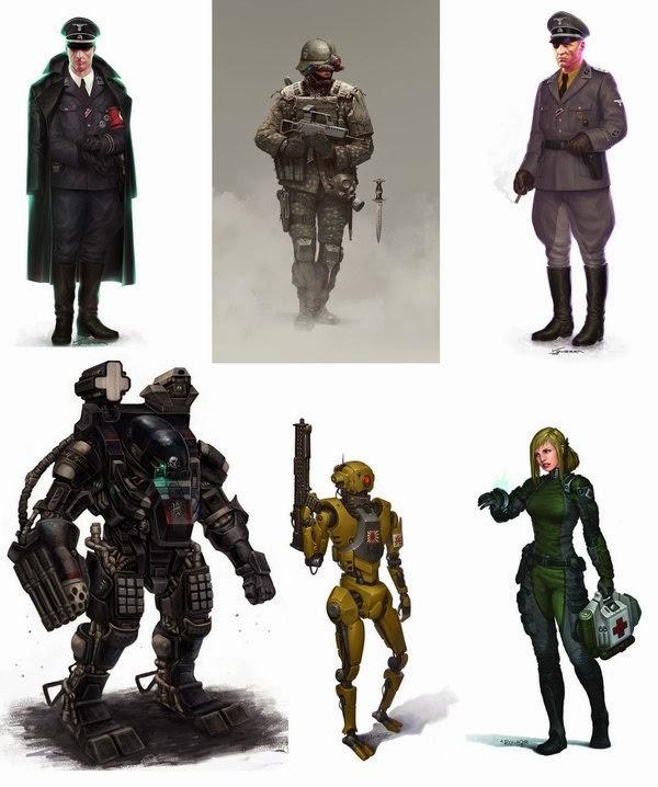 Ilustraciones de seis personajes de Walküre.