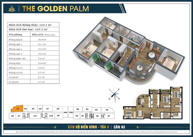 Thiết kế căn A3, 123m, tòa A - The Golden Palm