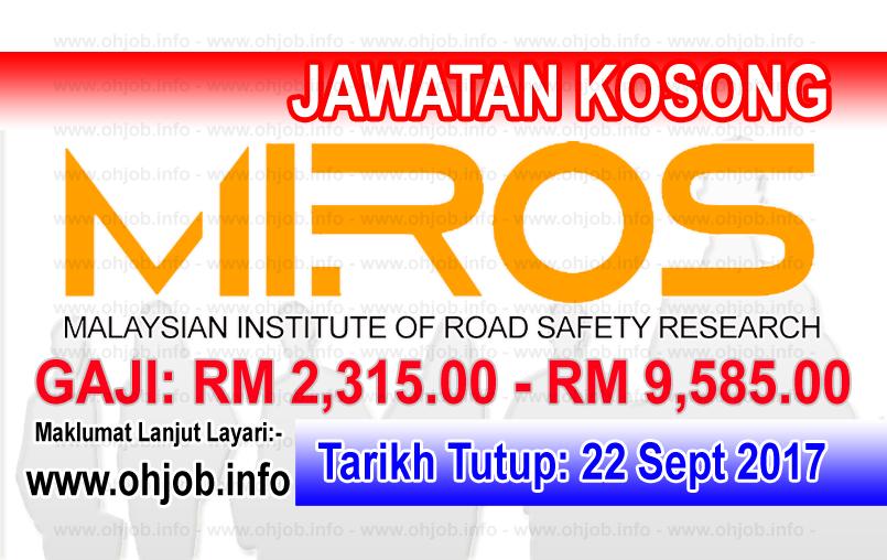 Jawatan Kerja Kosong MIROS logo www.ohjob.info september 2017
