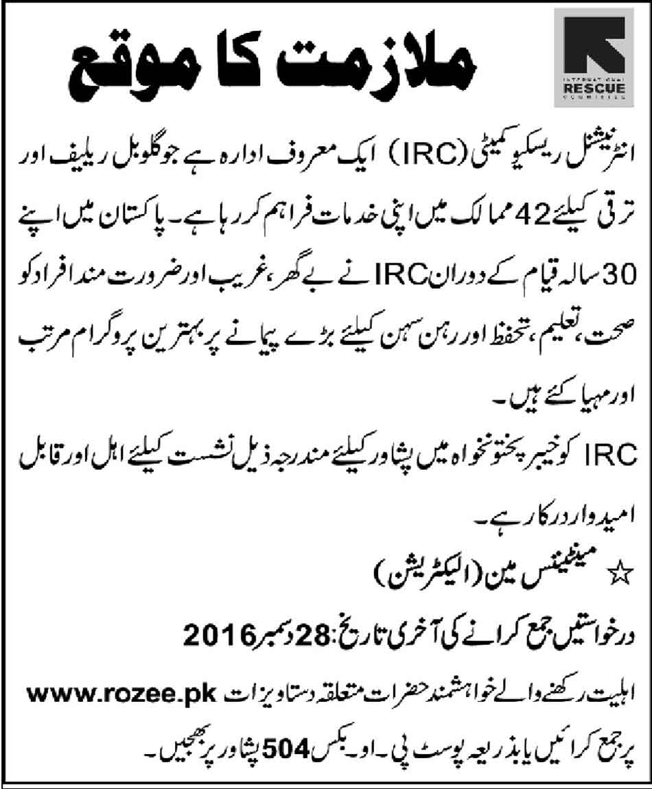 Job in International Rescue Committee IRC Peshawar