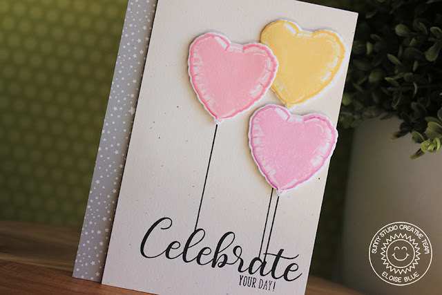 Sunny Studio Stamps: Bold Balloons Pink & Yellow Heart Balloons Birthday Card by Eloise Blue