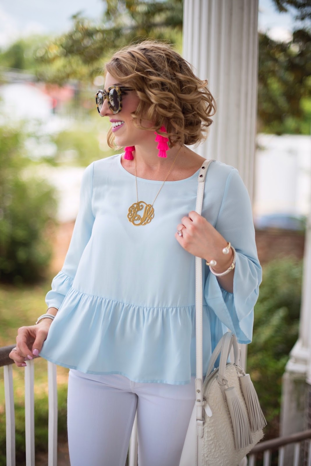 Blue Ruffle Hem Top - Click through to see more on Something Delightful Blog.